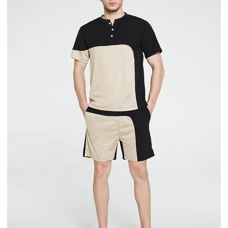 Asymmetrical Mesh Breathable T-Shirt Set with Quick Dry Shorts for Men