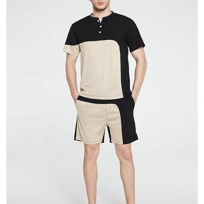 LW-TZ61Men summer asymmetrical mesh breathable t shirts sets quick dry mens shorts
