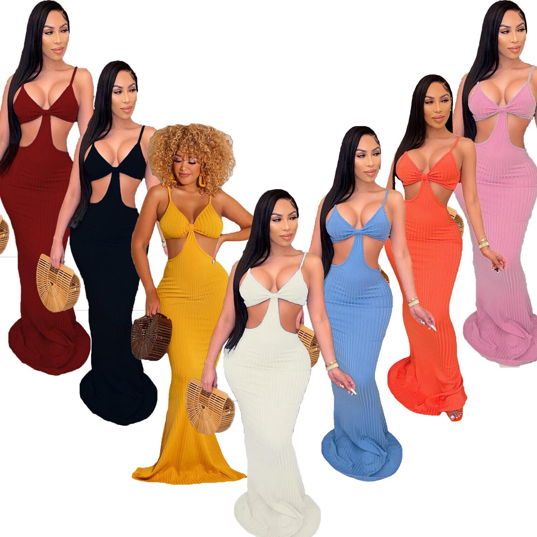 Sleeveless Ribbed Maxi Fashion Dress for Women