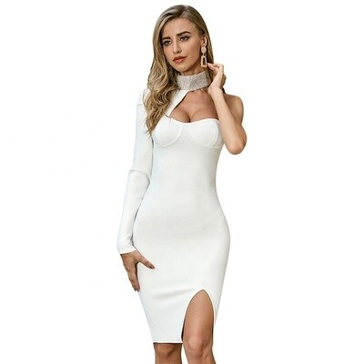 New arrival white  O-NECK one shoulder hollow out backless bodycon sexy bandage dress