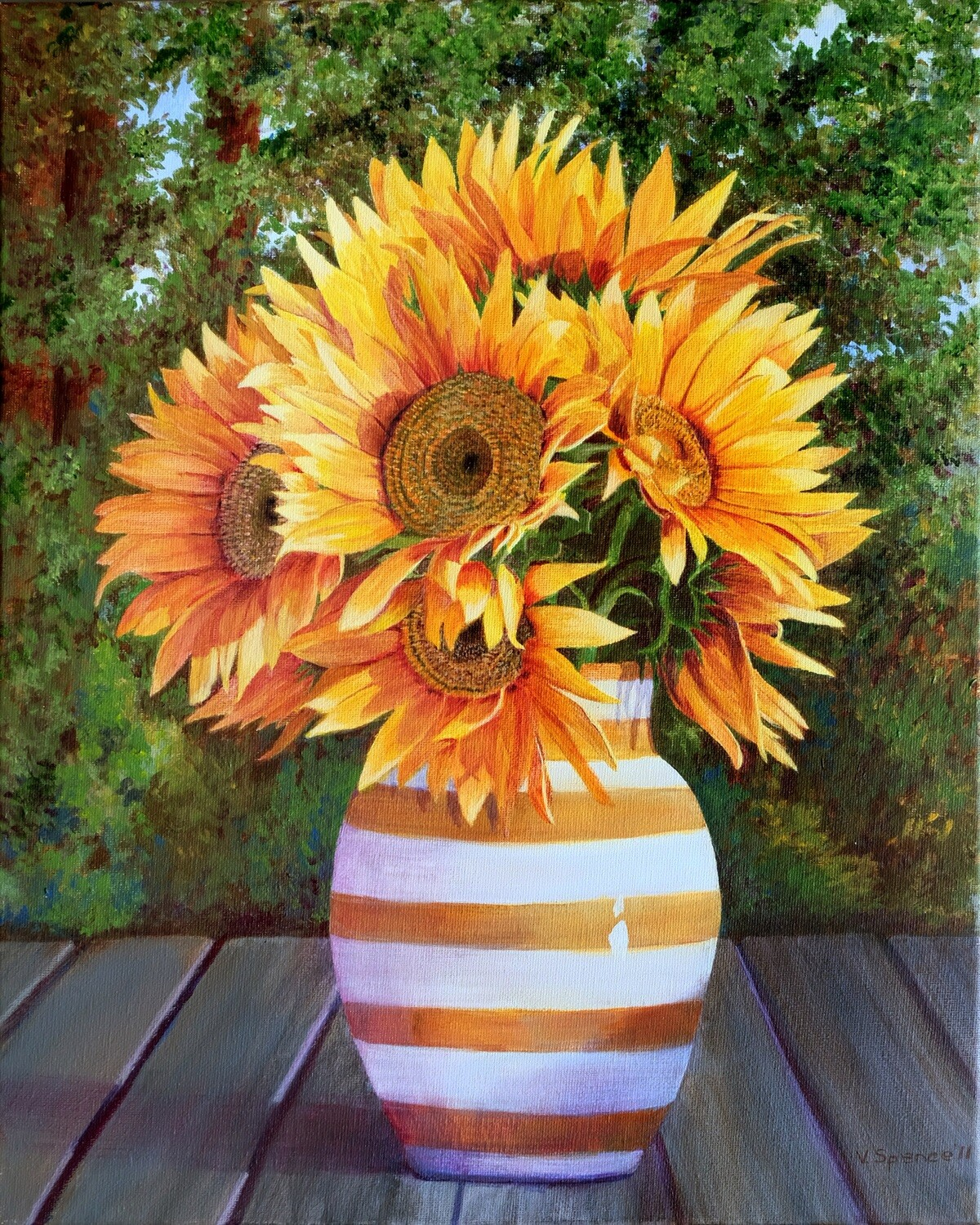 Sunflowers in Vase, Print Matted & Signed