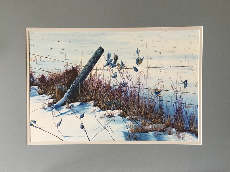 Along the Fence Line Print Matted & Signed