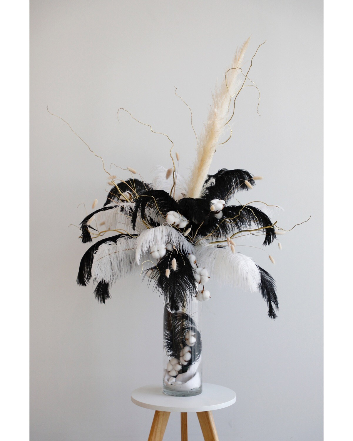 Dry Flowers With Black Feathers