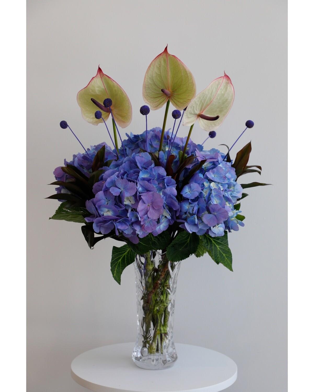 Blue Hydrangea Arrangement With Vase
