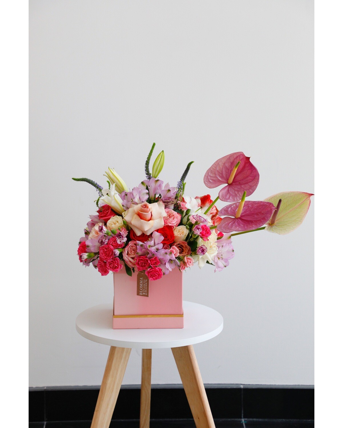 Flower Arrangement With Pink Box