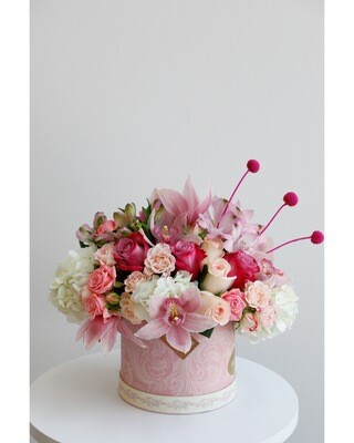 Pink Mix Flowers With Pink Unique Box
