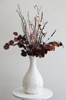 Dry Flowers With Marble Vase