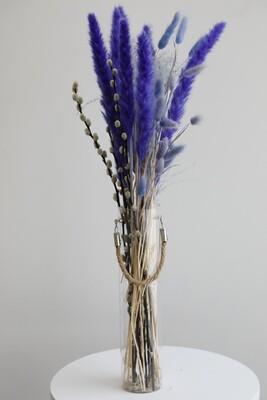 Purplr Dry Arrangement With Glass Vase