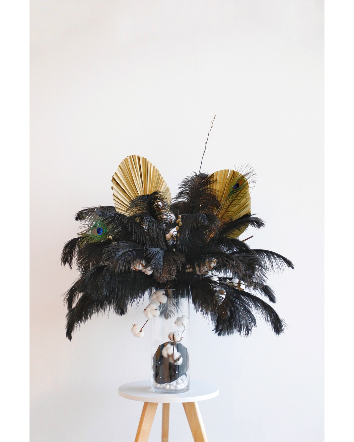 Black Feathers Arrangement With Glass Vase