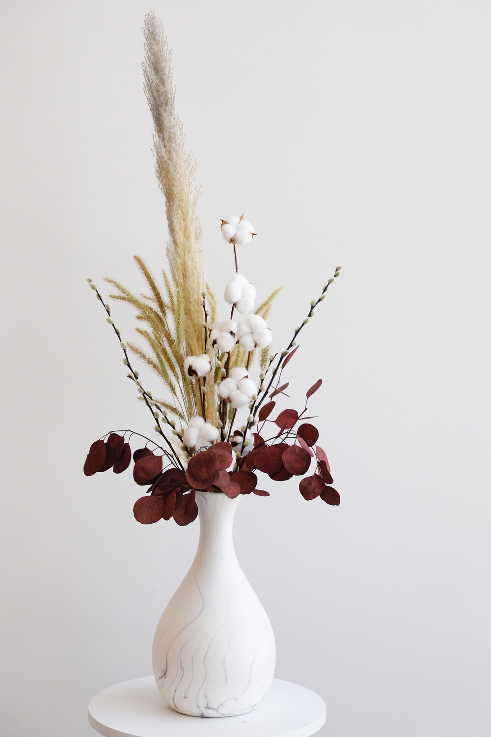Dry Flowers Arrangement With Marble Vase