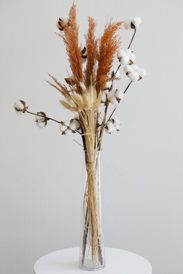 Dry Flowers With Glass Vase