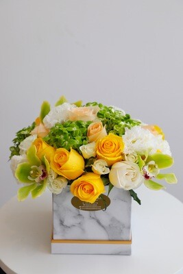 Flowers Arrangement With Marble Square Box