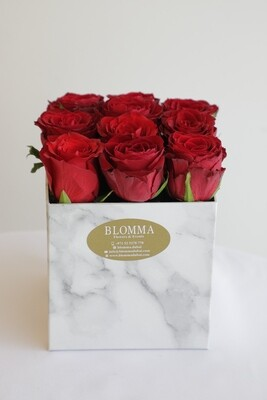 Red Flowers With Square Marble Box