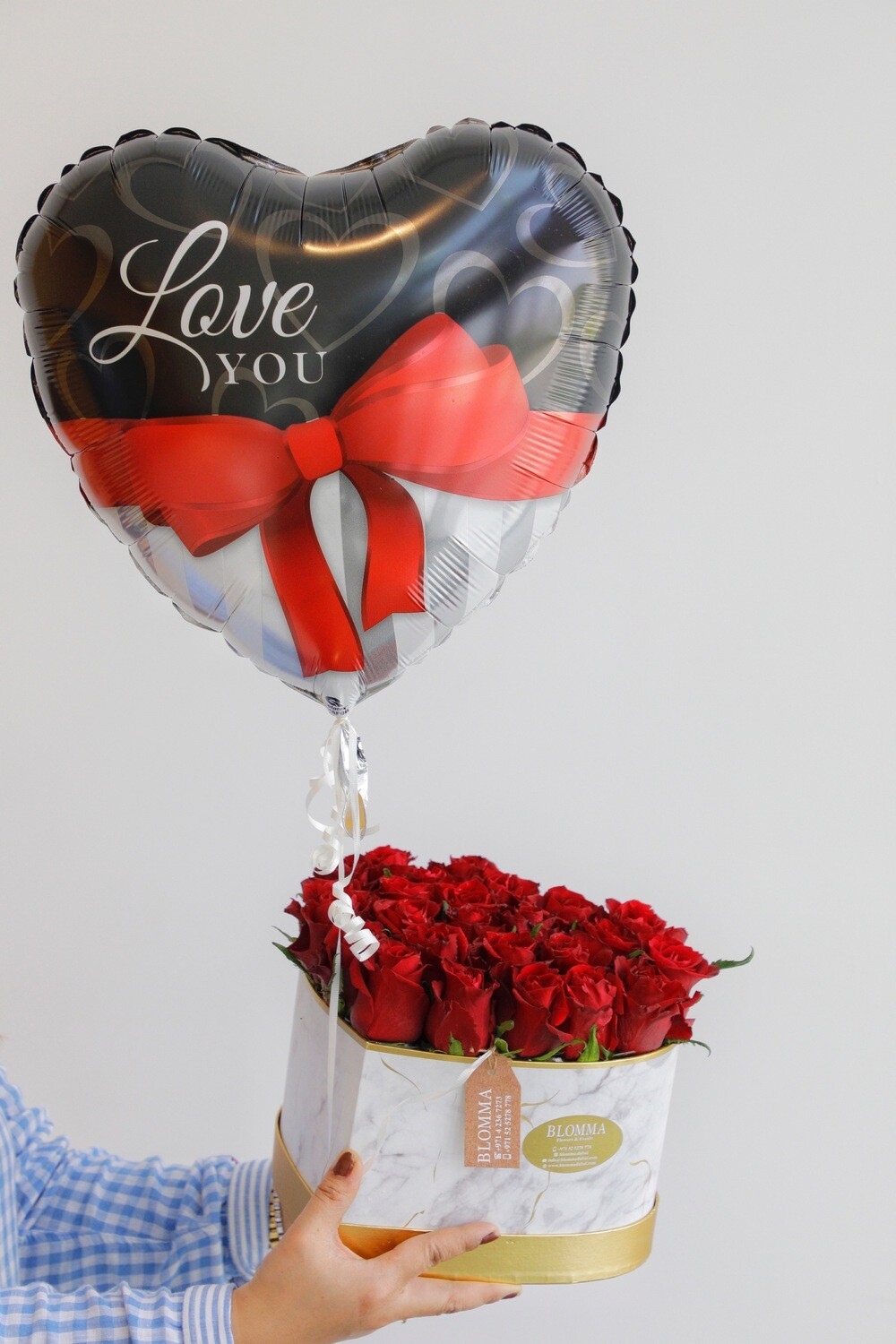 Red Rose With Heart Shape Box And Heart Balloon Helium