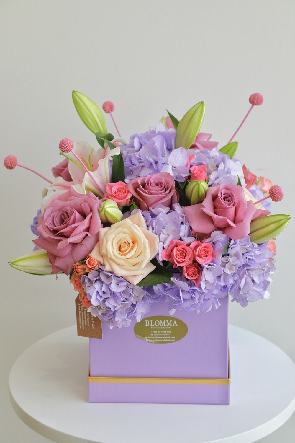 Purple Box With  Mix Flowers