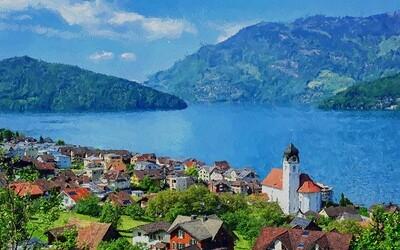 Цифровая картина на холсте с нанопокрытием Озеро Люцерн