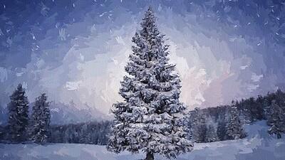 Ель в снегопад