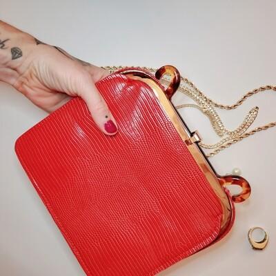 Sac à main retro rouge berry