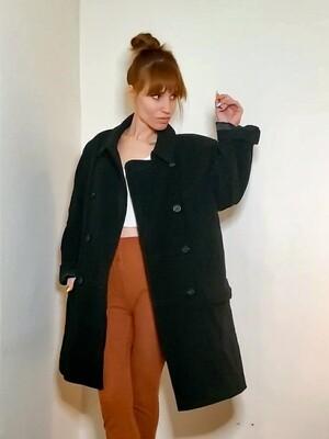 Manteau en laine et cachemire avec épaulettes 《M-L》