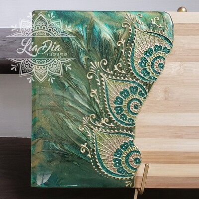 Regal Green Peacock Resin Serving Board