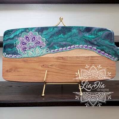 Mermaid Garden Resin Charcuterie Cheese Paddle Board