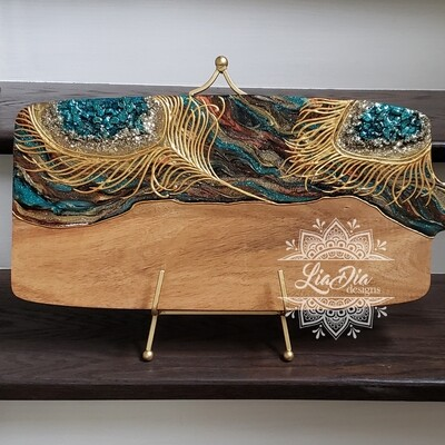 Golden Peacock Resin Geode Style Charcuterie Cheese Paddle Board