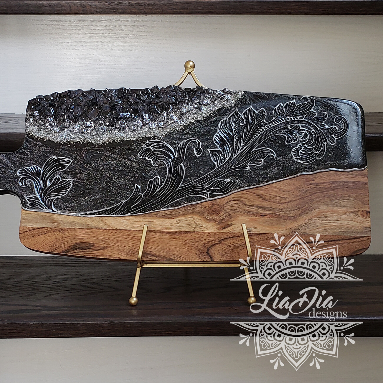 Victorian Flourish Resin Geode Style Charcuterie Cheese Paddle Board