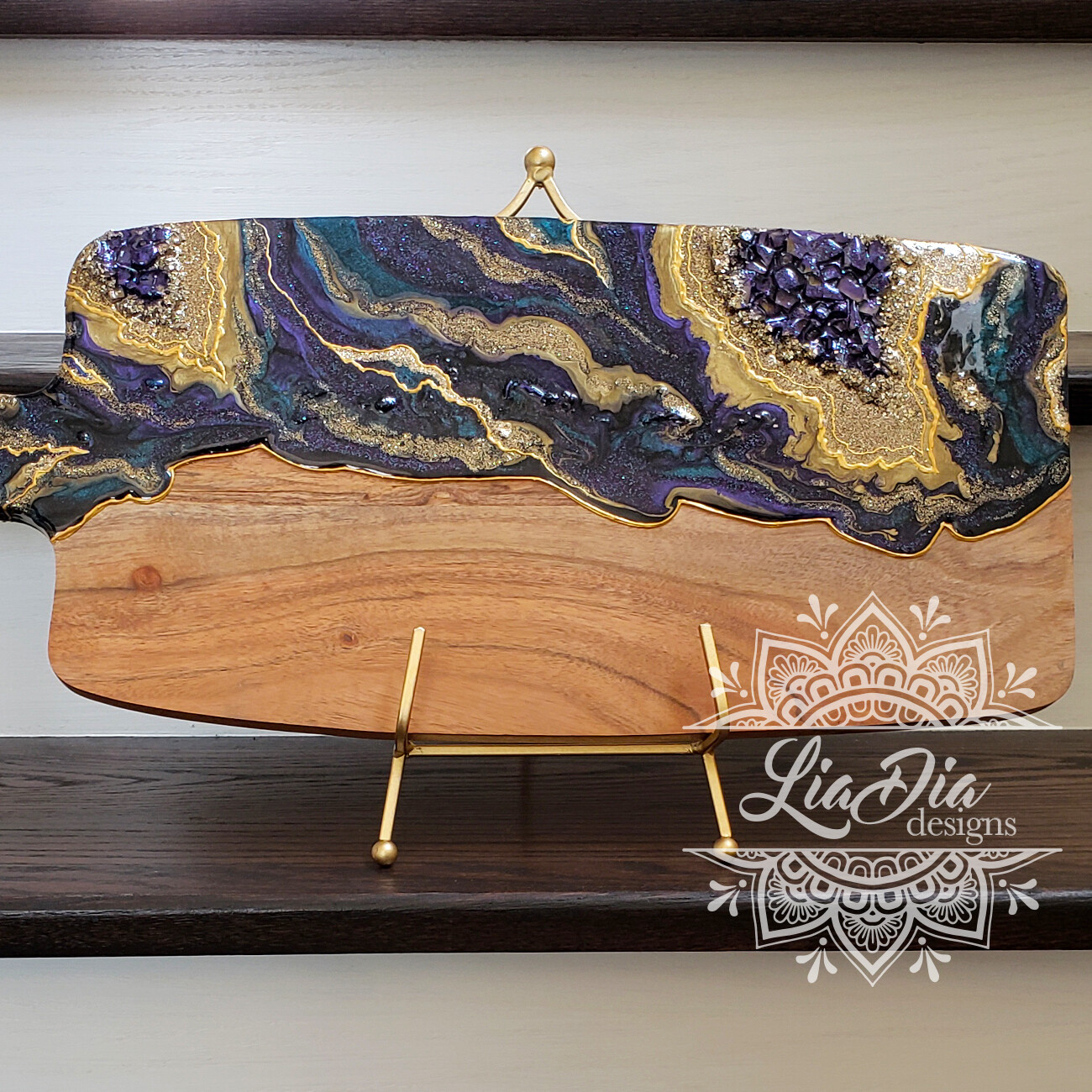 Deep Amethyst Resin Geode Style Charcuterie Cheese Paddle Board