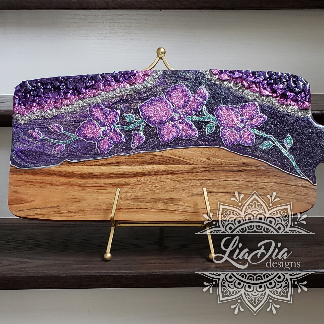 Violet Orchids Resin Geode Style Charcuterie Cheese Paddle Board