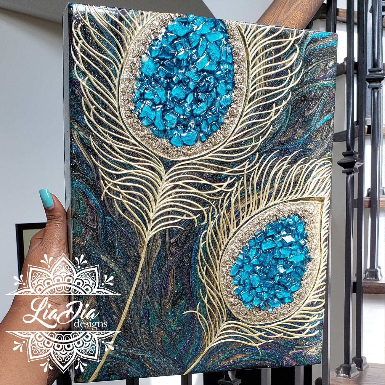 """Blue Eyes"" - Peacock Feather Resin Geode Style Wooden Canvas Wall Art"