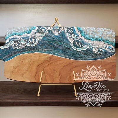 Winter Ocean Geode Style Charcuterie Cheese Paddle Board