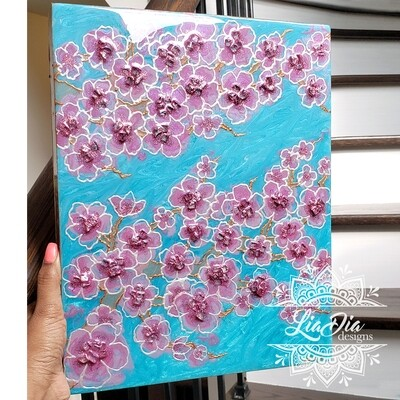 Cherry Blossoms - Wooden Canvas Wall Art