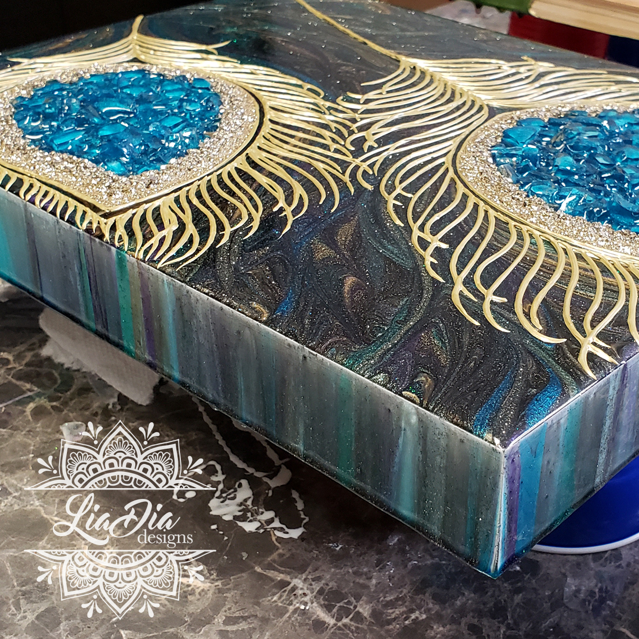 Peacock Feathers Resin Geode Style Wood Canvas Wall Art