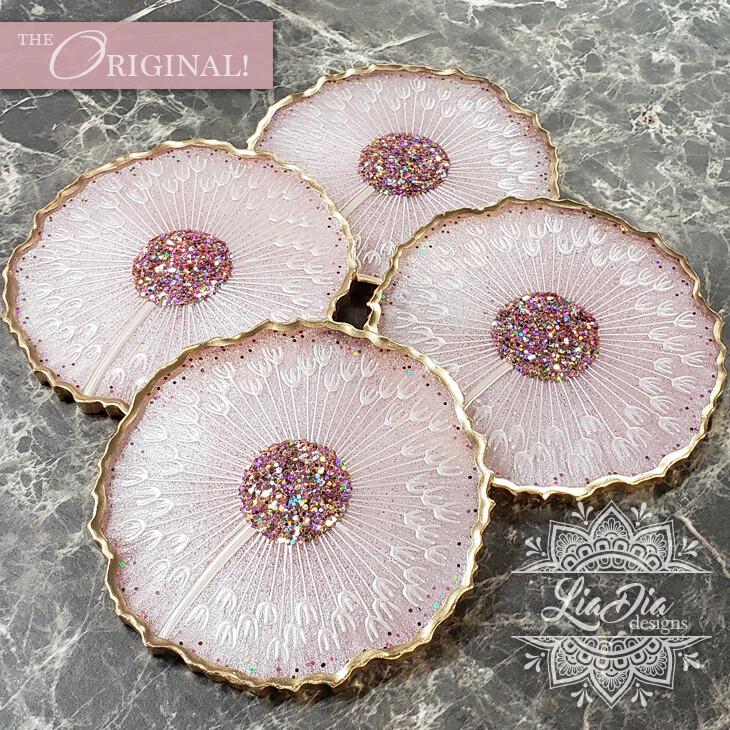 Pink Lemonade Dandelion Coasters - Set of 4