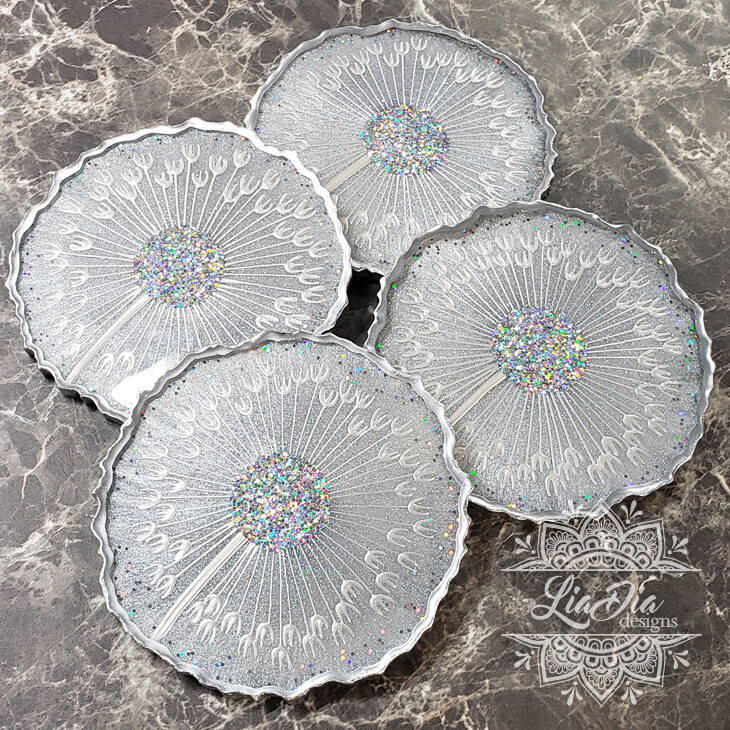 Celestial Silver Dandelion Coasters - Set of 4