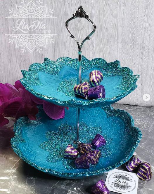 Sparkly Teal 2 Tier Mandala Candy Tray - Medium