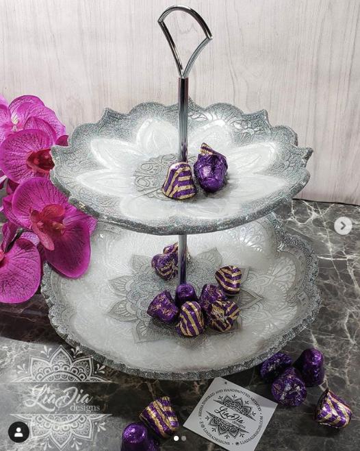 White and Silver 2 Tier Mandala Candy Tray - Medium