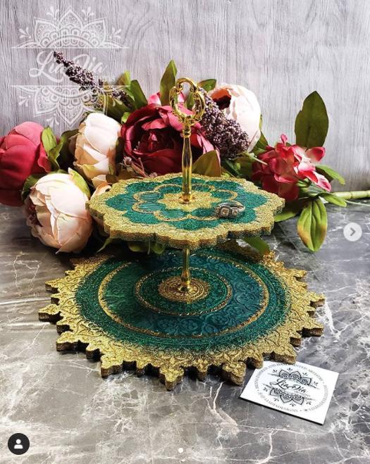 Emerald Green & Gold 2 Tier Mandala Jewelry Stand- Small