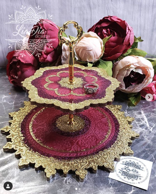 Burgundy and Gold 2 Tier Mandala Jewelry Stand- Small