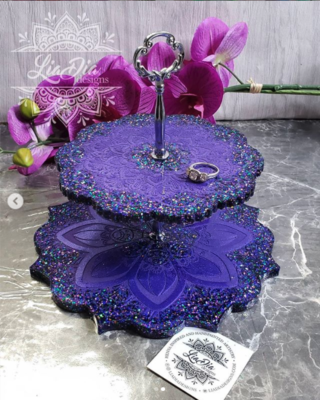 Purple Dream 2 Tier Mandala Jewelry Stand- Small