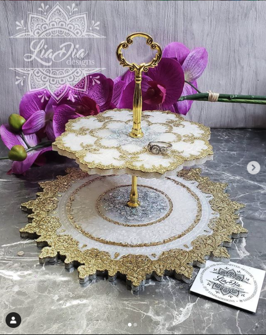 Classic White, Silver & Gold 2 Tier Mandala Jewelry Stand- Small