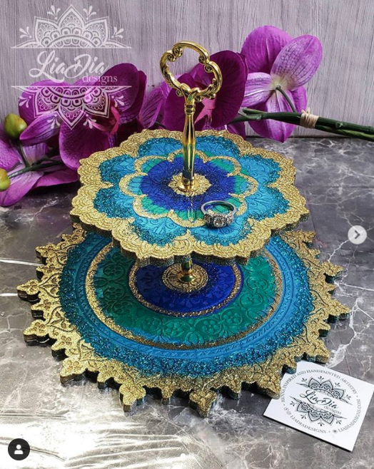 Sparkly Peacock 2 Tier Mandala Jewelry Stand- Small
