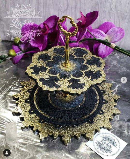 Elegant Black & Gold 2 Tier Mandala Jewelry Stand- Small