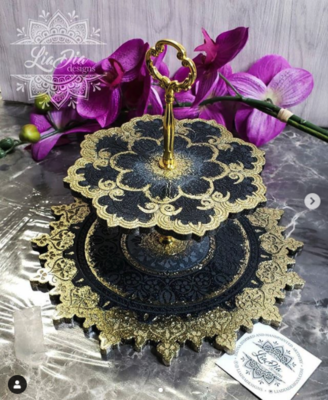 Elegant Black & Gold 2 Tier Mandala Jewelry Stand- Small