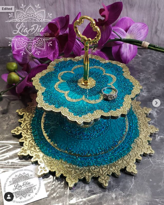 Teal & Gold 2 Tier Mandala Jewelry Stand- Small