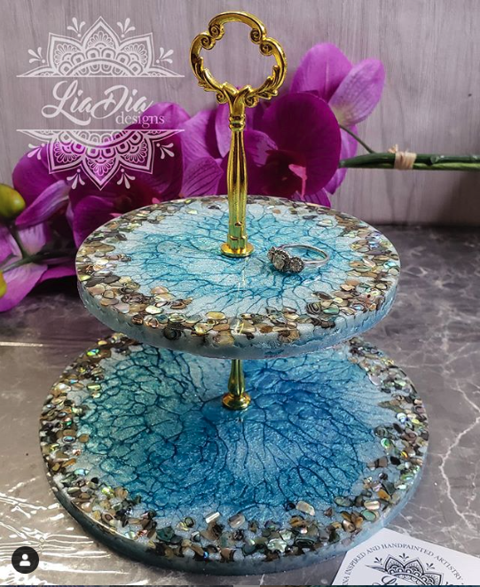 Abalone Ocean 2 Tier Jewelry Stand- Small