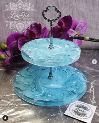 Swirly Floral Aqua Blue 2 Tier Jewelry Stand- Small
