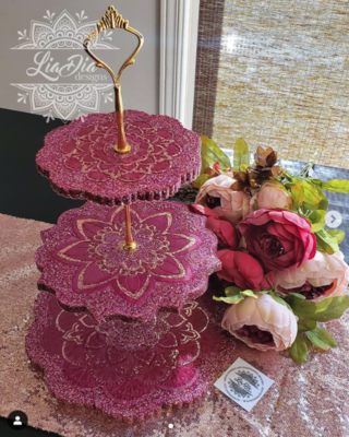Raspberry 3 Tier Mandala Cupcake Stand with Handpainted Detailing