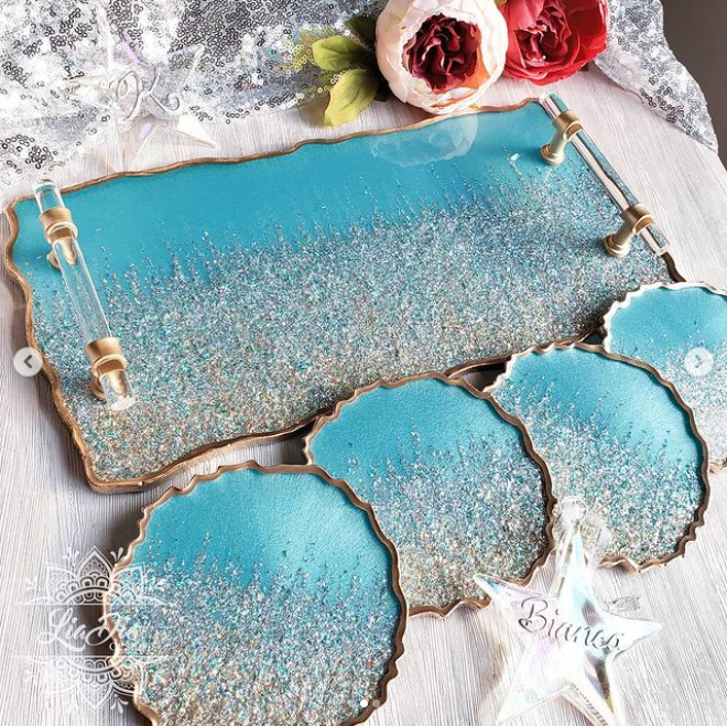 Ultra Glam Turquoise Blue Tray and Coaster Set