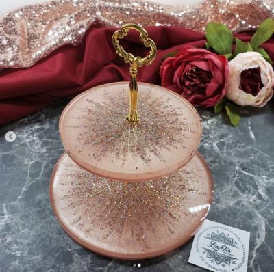 Champagne Blush Glam Starburst 2 Tier Jewelry Stand- Small